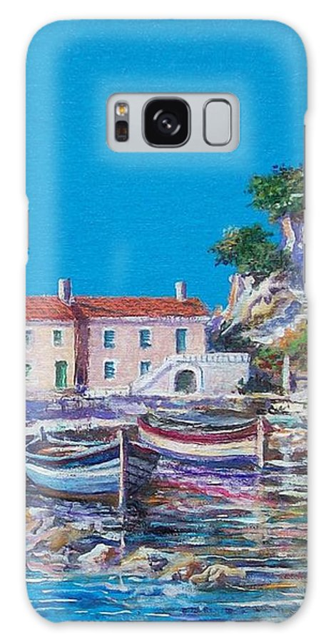 Original Painting Galaxy S8 Case featuring the painting Blue Bay by Sinisa Saratlic