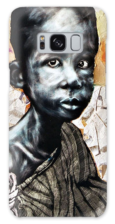 Portriat Galaxy S8 Case featuring the mixed media Blue Boy In A Big Sweater by Chester Elmore
