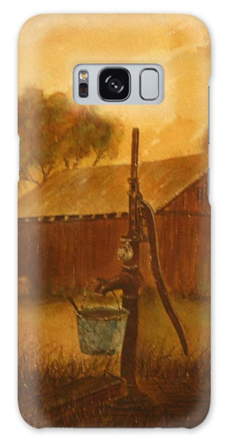 Barn; Bucket; Country Galaxy Case featuring the painting Blue Bucket by Ben Kiger