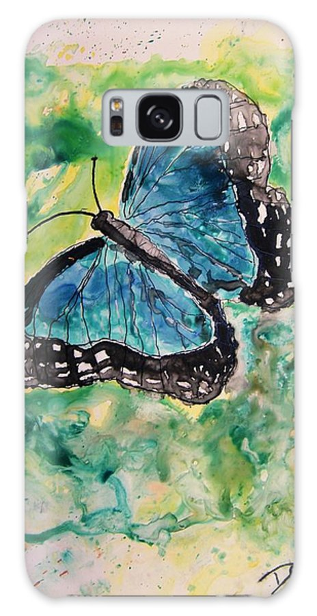 Wildlife Galaxy S8 Case featuring the painting Blue Butterfly by Derek Mccrea