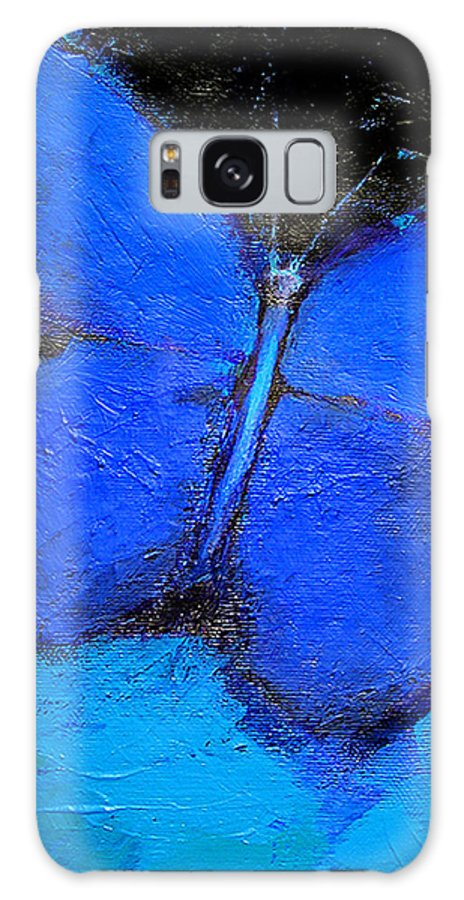 Butterfly Galaxy Case featuring the painting Blue Butterfly by Noga Ami-rav