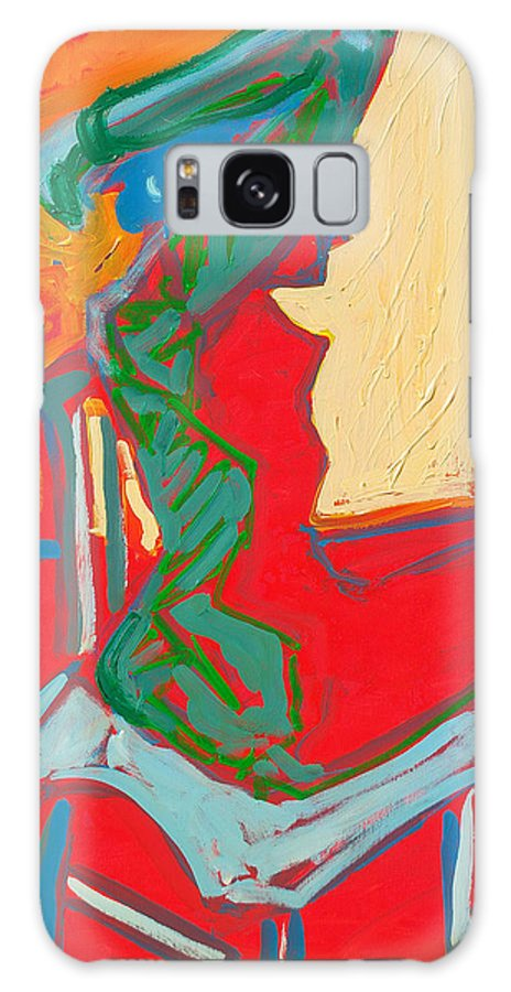 Woman Galaxy S8 Case featuring the painting Blue Chair Study by Kurt Hausmann