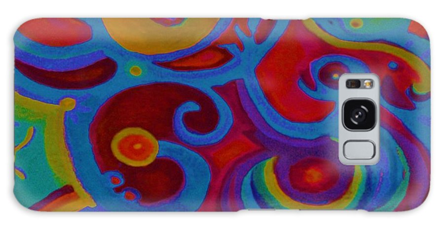 Abstract Galaxy Case featuring the painting Blue Corn Flower by Sidra Myers