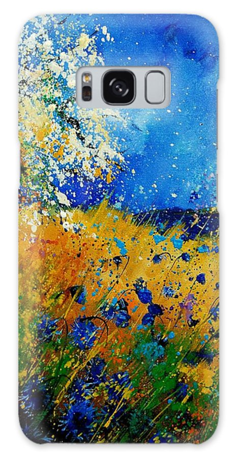 Poppies Galaxy S8 Case featuring the painting Blue Cornflowers 450108 by Pol Ledent