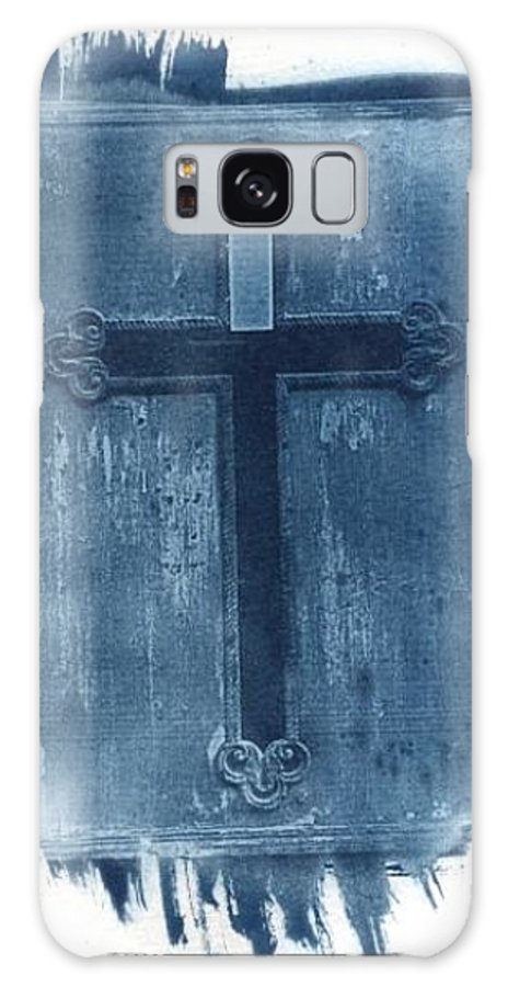 Cyanotype Galaxy S8 Case featuring the photograph Blue Cross by Jane Linders