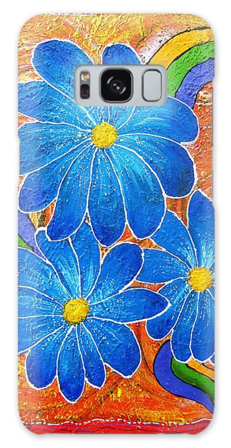Galaxy Case featuring the painting Blue Daisies Gone Wild by Tami Booher