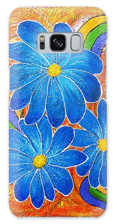 Galaxy S8 Case featuring the painting Blue Daisies gone Wild by Tami Booher