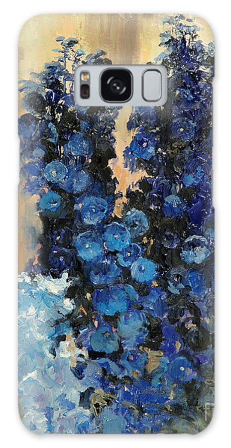 Floral Galaxy S8 Case featuring the painting Blue Delphiniums For Nancy by Glenn Secrest