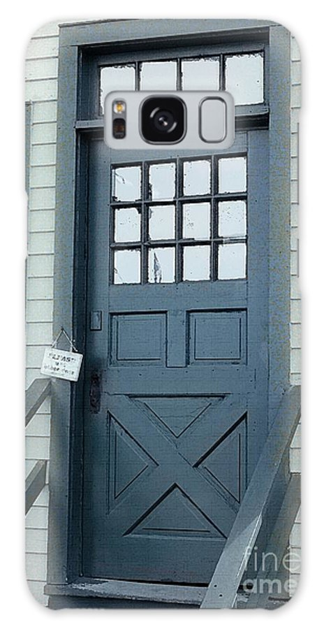 Door Galaxy S8 Case featuring the painting Blue Door At The Seaport by RC DeWinter