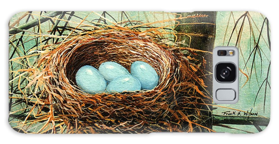 Wildlife Galaxy Case featuring the painting Blue Eggs In Nest by Frank Wilson
