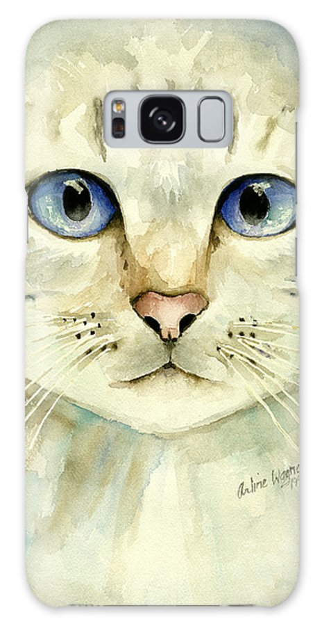 Cat Galaxy Case featuring the painting Blue-eyed Cat by Arline Wagner