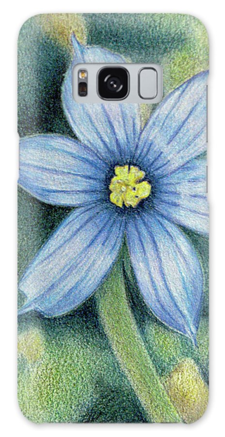 Fuqua - Artwork Galaxy S8 Case featuring the drawing Blue Eyed Grass - 1 by Beverly Fuqua