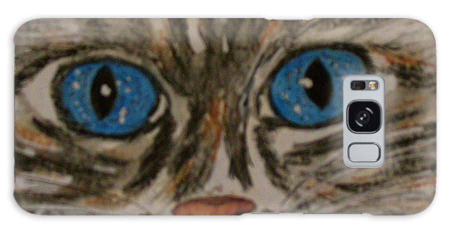 Blue Eyes Galaxy S8 Case featuring the painting Blue Eyed Tiger Cat by Kathy Marrs Chandler