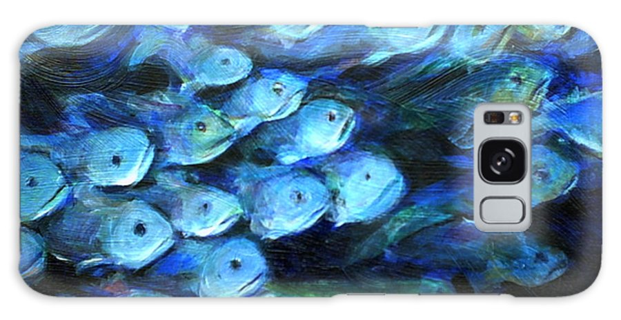 Blue Galaxy S8 Case featuring the painting Blue Fish by Nanci Cook