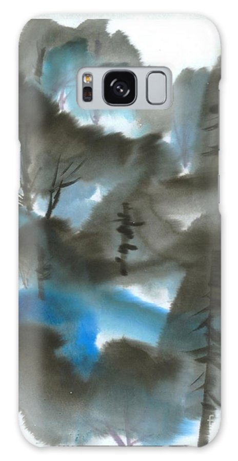A Forest With A Tint Of Blue. This Is A Contemporary Chinese Ink And Color On Rice Paper Painting With Simple Zen Style Brush Strokes.  Galaxy S8 Case featuring the painting Blue Forest by Mui-Joo Wee