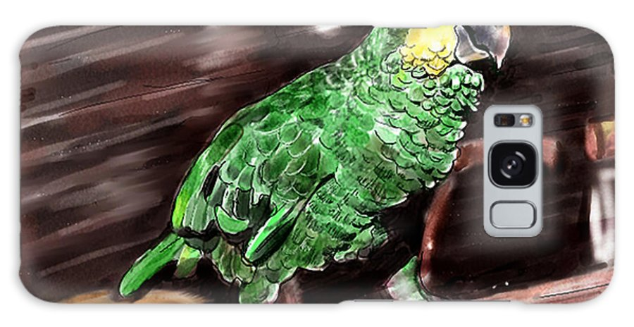 Bird Galaxy Case featuring the digital art Blue-fronted Amazon Parrot by Arline Wagner