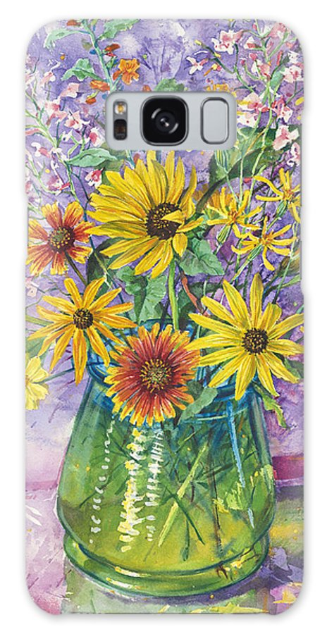 Floral Galaxy S8 Case featuring the painting Blue-green Vase Of Wildflowers by John Rose