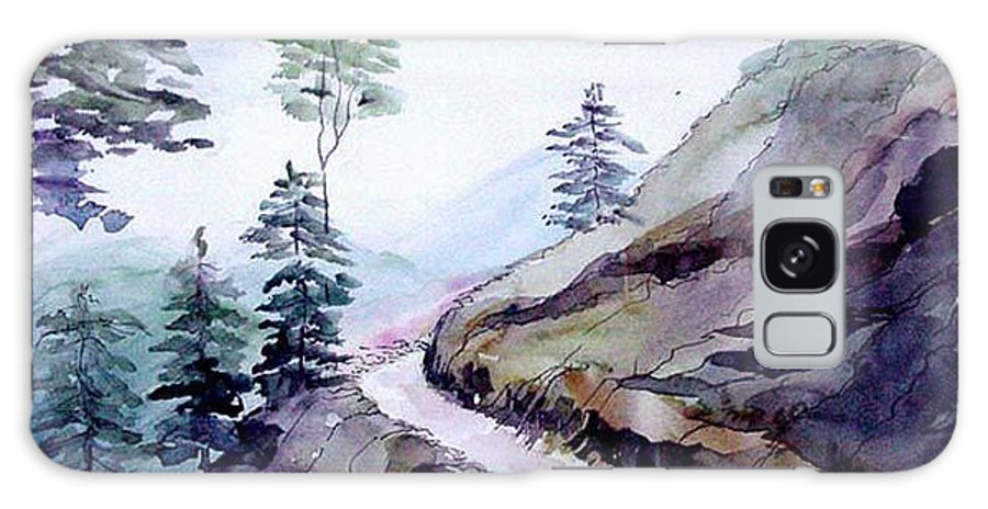Landscape Galaxy Case featuring the painting Blue Hills by Anil Nene