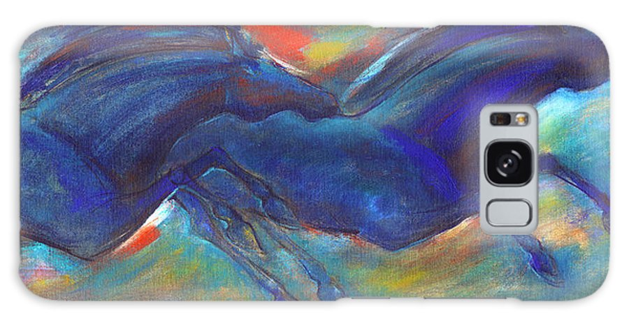 Horse Galaxy S8 Case featuring the painting Blue Horses 2 by Nato Gomes