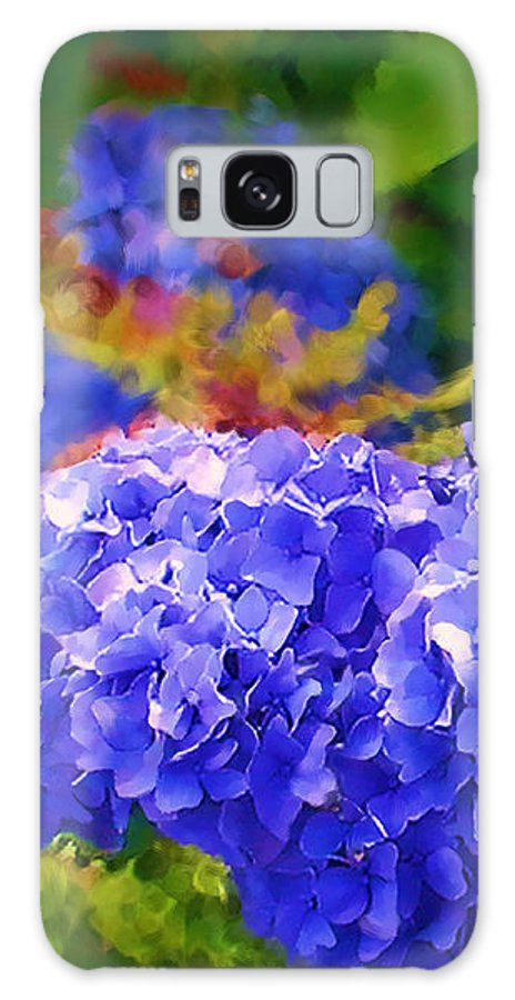 Blue Hydrangea Galaxy S8 Case featuring the painting Blue Hydrangea by Methune Hively