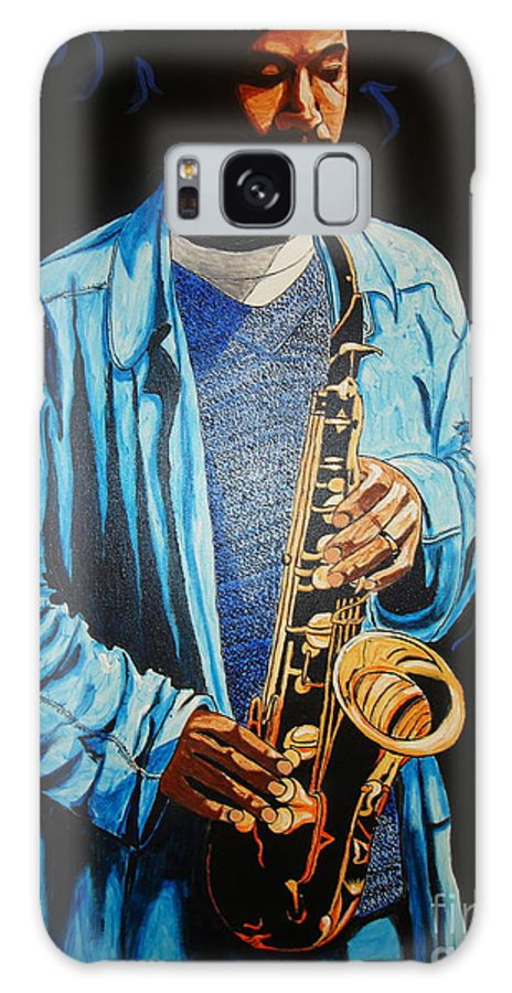Music Galaxy S8 Case featuring the painting Blue Jazz by Nathaniel Gawayne Sutton