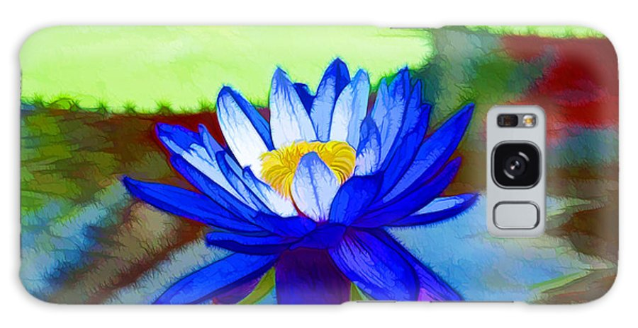 Blue Lotus Galaxy S8 Case featuring the painting Blue Lotus Flower by Jeelan Clark