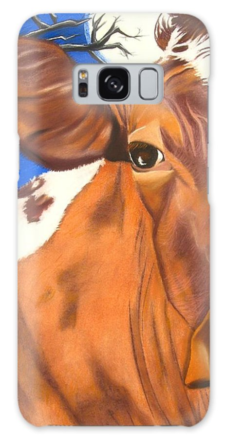 Cow Painting Galaxy S8 Case featuring the pastel Blue Moo by Michelle Hayden-Marsan