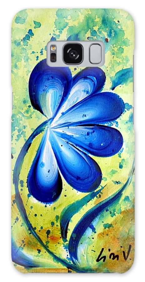 Flower Galaxy S8 Case featuring the painting Blue Mood by Luiza Vizoli
