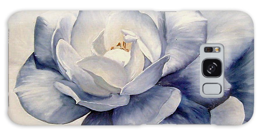 Flower Macro Nature Blue Gardenia Galaxy Case featuring the painting Blue by Natalia Tejera