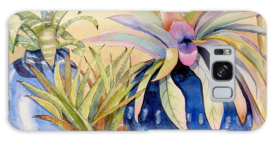 Succulents Galaxy Case featuring the painting Blue Pots by Midge Pippel