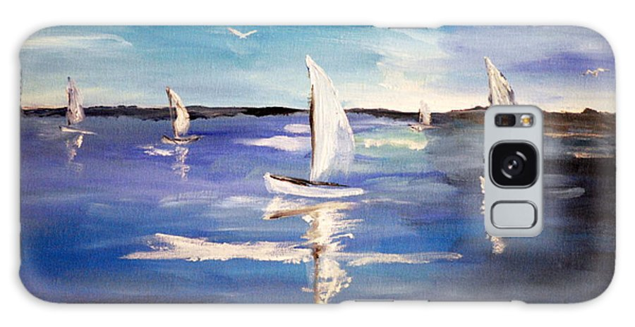 Blue Galaxy S8 Case featuring the painting Blue Sailing by Phil Burton