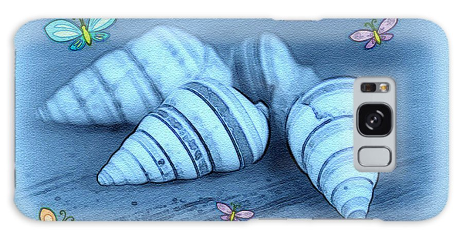 Shell Art Galaxy Case featuring the photograph Blue Seashells by Linda Sannuti