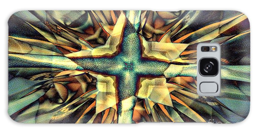 Abstract Galaxy S8 Case featuring the digital art Blue Star by Ron Bissett
