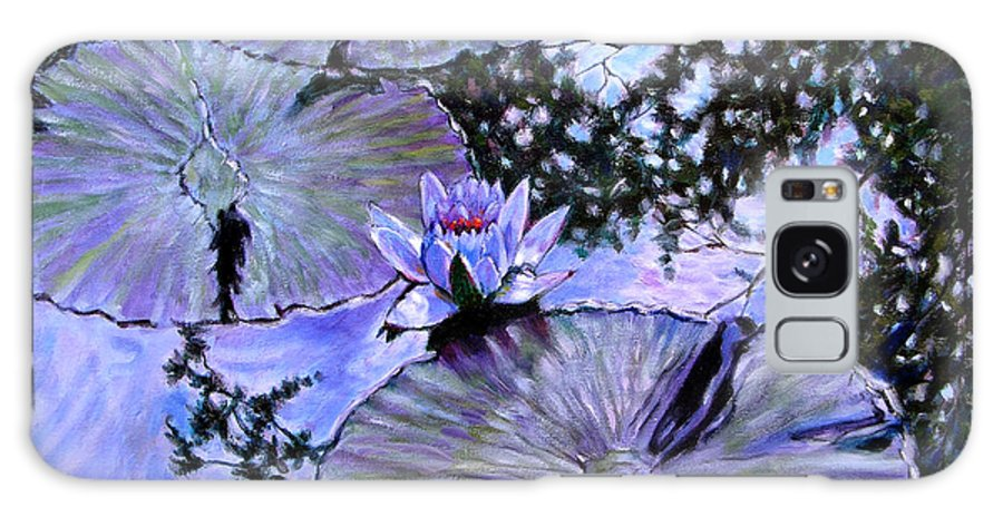 Water Lily Galaxy S8 Case featuring the painting Blue Stillness by John Lautermilch