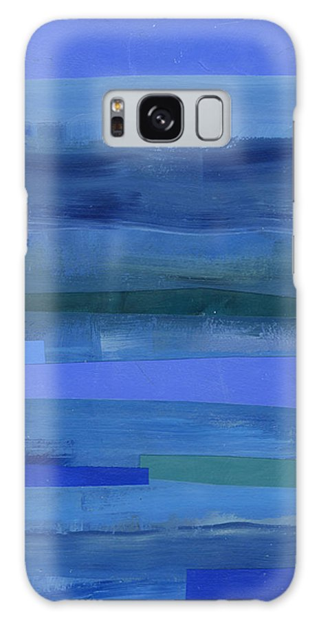 Abstract Art Galaxy Case featuring the painting Blue Stripes 1 by Jane Davies