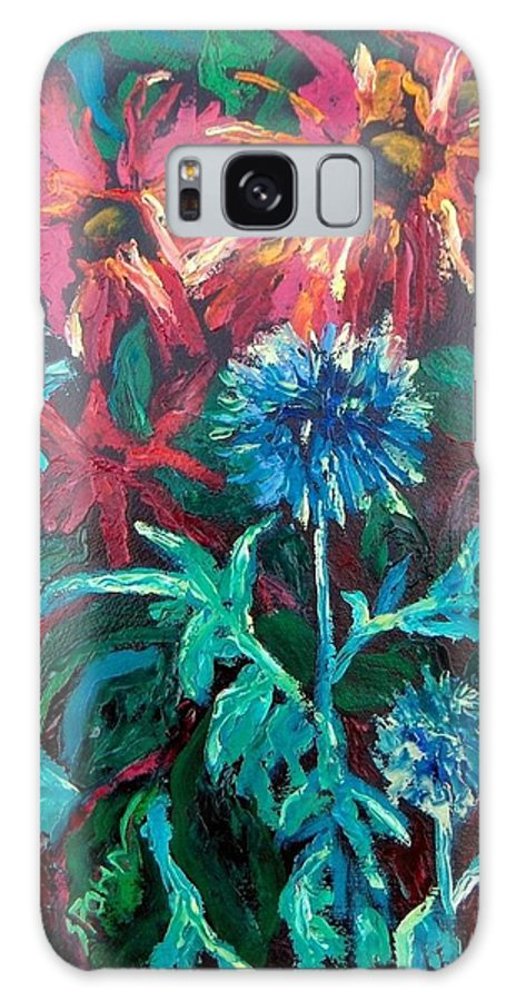 Red Galaxy S8 Case featuring the painting Blue Thistle And Bee Balm by Susan Spohn