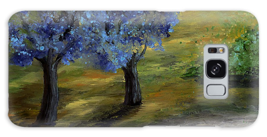 Trees Galaxy Case featuring the painting Blue Trees by Laura Swink