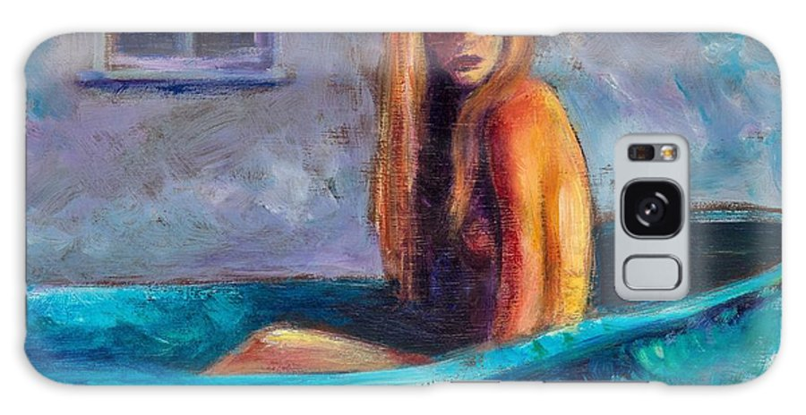 Nude Galaxy Case featuring the painting Blue Tub Study by Jason Reinhardt