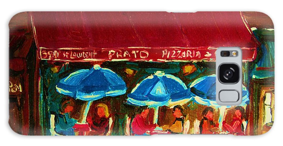 Cafes Galaxy S8 Case featuring the painting Blue Umbrellas by Carole Spandau