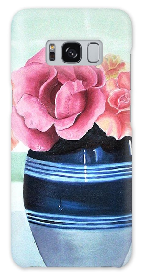 Roses Galaxy S8 Case featuring the painting Blue Vase by Maria Mills