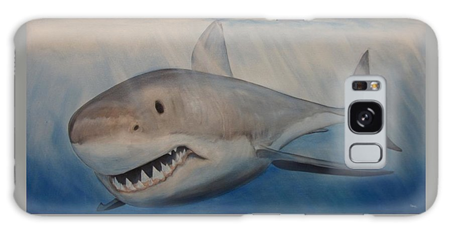 Jaws Galaxy S8 Case featuring the painting Blue Water, White Death by John Stevens