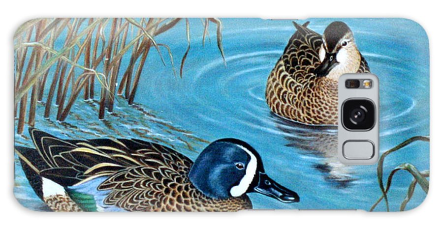 Ducks Galaxy Case featuring the painting Blue-winged Teals by Elaine Booth-Kallweit