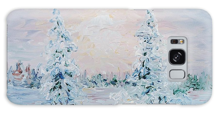 Landscape Galaxy Case featuring the painting Blue Winter by Nadine Rippelmeyer
