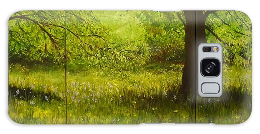 Tree Galaxy S8 Case featuring the painting Bluebell Wood In Spring Triptych by Lizzy Forrester