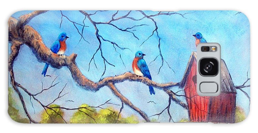 Bluebirds Galaxy Case featuring the painting Bluebirds by Tami Booher