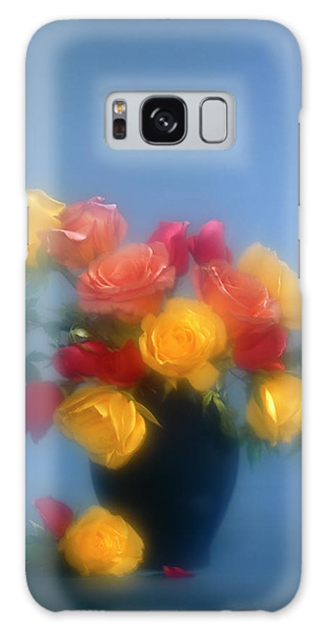 Arty; Still Life; Vertical; Composition; Flowers; Roses; Yellow; Blue; Red; Pink; Orange; Light Effects.spotlights; Bunch; Vase; Blur; Blurred Galaxy S8 Case featuring the photograph Blurred Roses In The Blue by Stefania Levi