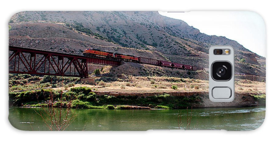 Train Galaxy S8 Case featuring the photograph Bnsf Train Along The Wind River by George Jones
