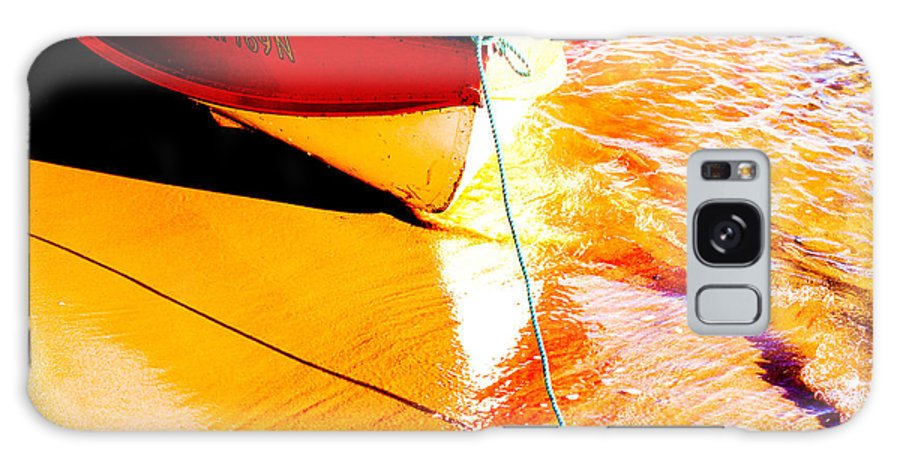 Boat Abstract Yellow Water Orange Galaxy S8 Case featuring the photograph Boat Abstract by Sheila Smart Fine Art Photography