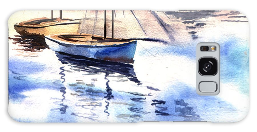 Watercolor Galaxy Case featuring the painting Boat And The River by Anil Nene
