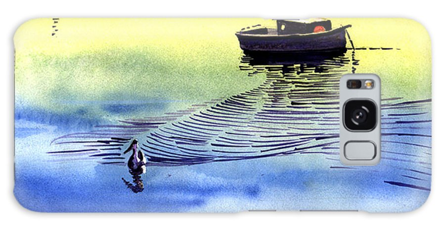 Watercolor Galaxy S8 Case featuring the painting Boat And The Seagull by Anil Nene